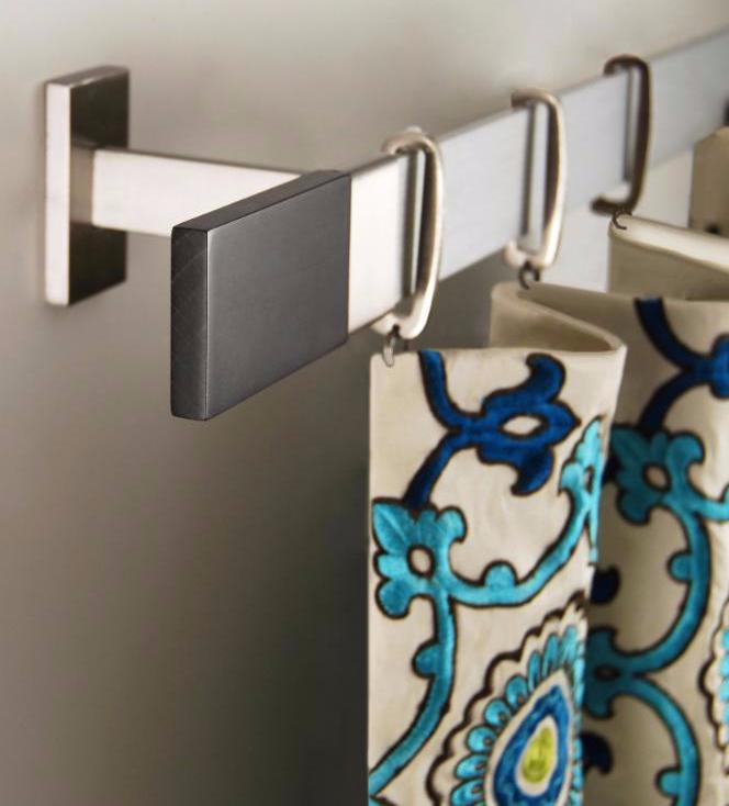 custom made drapery panels hung from rings