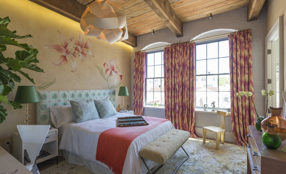 Thibaut Adds color to bedroom with fabric drapery