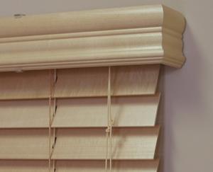 Wood pelmet on blinds