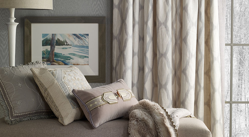 Fine Designer Fabrics and trims for drapery curtains and pillows by Kravet