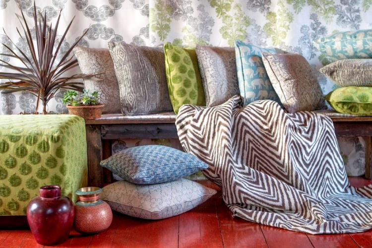 Duralee Custom pillows using John Robshaw Fabric Collection