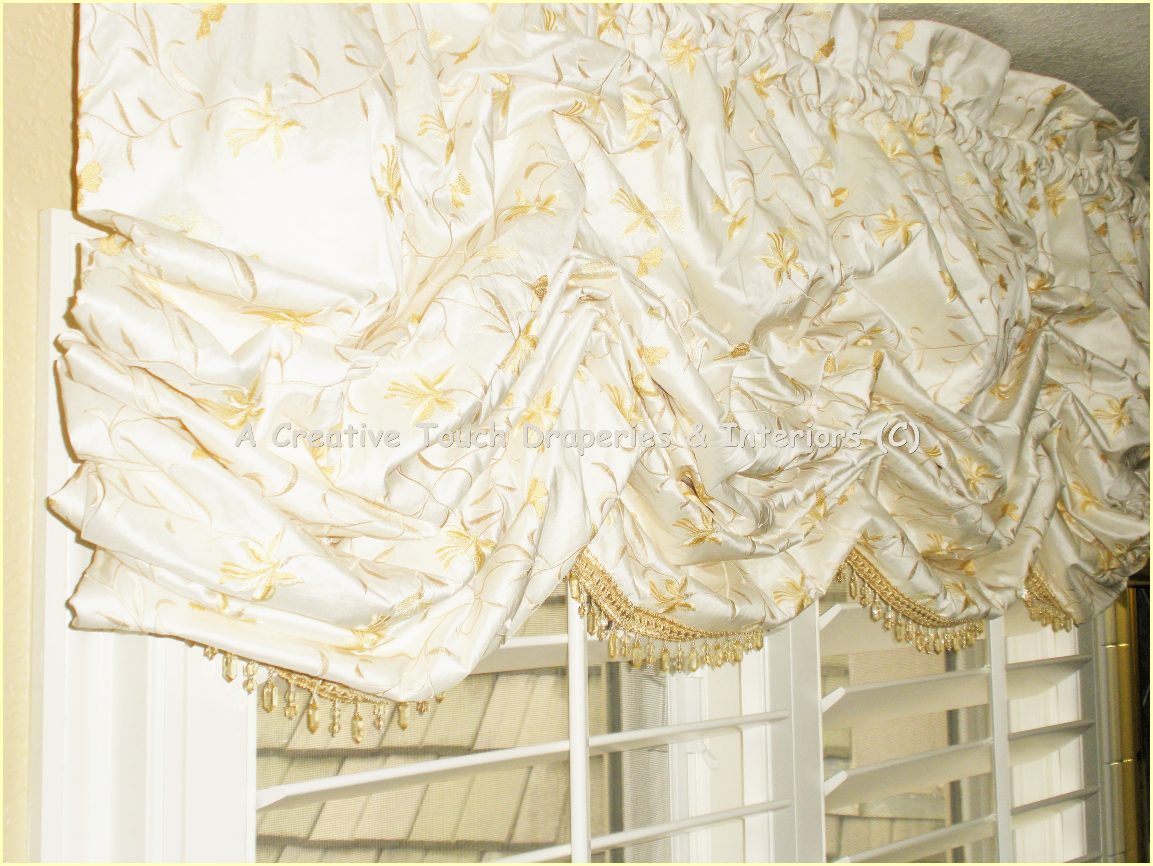 Embroidered dupioni Silk Balloon Valance with beaded trim