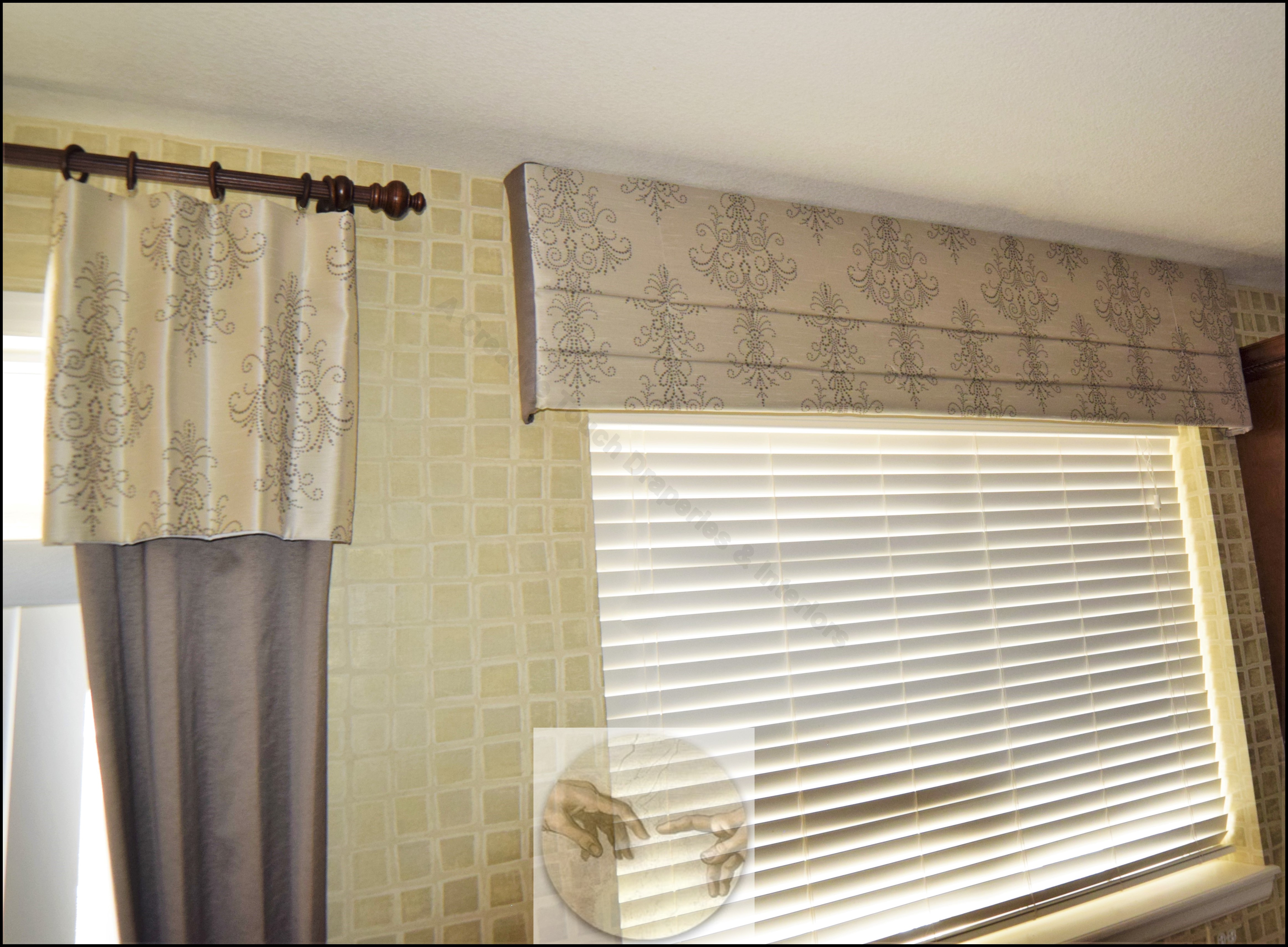 Mock Roman Valance over faux wood blinds