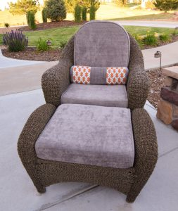 Outdoor funiture upholstery with custom made cushions