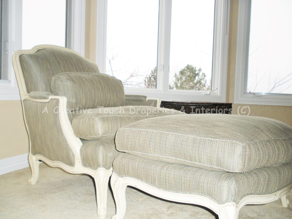 Chair and ottoman image after upholstery updates